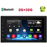 Double Din Android Car Stereo(2G+32G) GPS Stereo 7'' Touch Screen Car Radio with Bluetooth Indash Head Unit Support WiFi/Mirror Link/Backup Camera/DVR/USB/SWC Car Multimedia Player