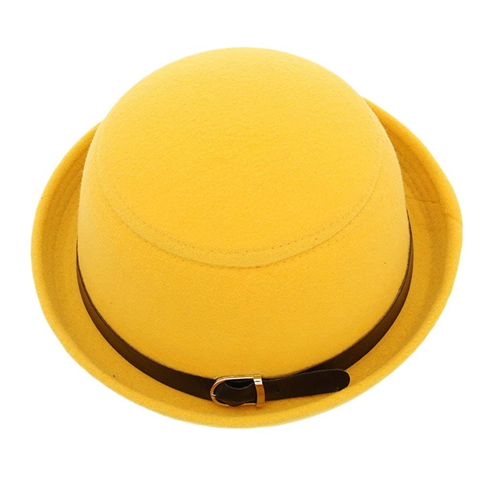 Bigood Women Trendy Roll Brim Buckle Bowler Hat Cloche Billycock Yellow