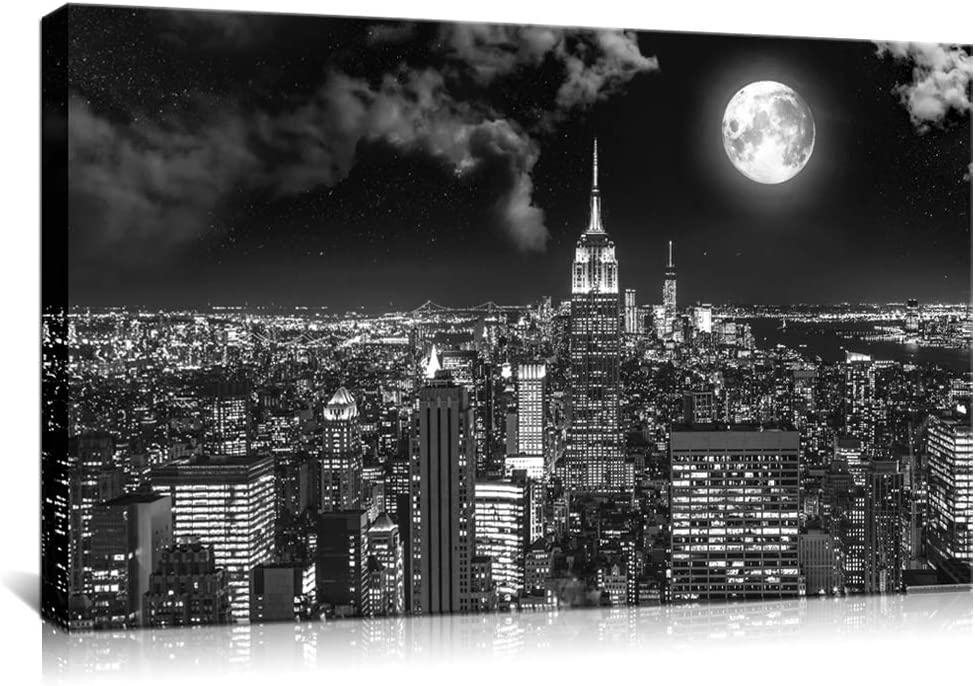 Biuteawal New York Cityscape Canvas Print Black and White Empire State Building Picture Moon Night City Skyline Scene Wall Art for Home Office Decor Gallery Wrapped