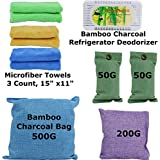 FRESHLAND Natural Bamboo Charcoal Bags, Bamboo Charcoal Refrigerator Deodorizer, and Microfiber Kitchen Towels for Air Purification, Natural Air Deodorizer, Refrigerator Deodorization