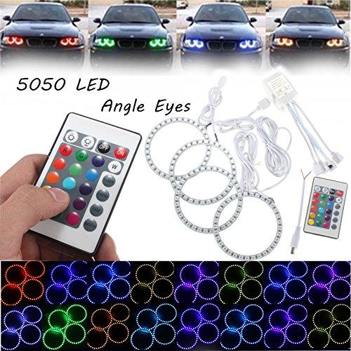 YULPING 4PCS RGB 100MMマルチカラー5050フラッシュLED SMD 12Vエンジェルアイズ+リモコン カーライト B07PXPZT9Q