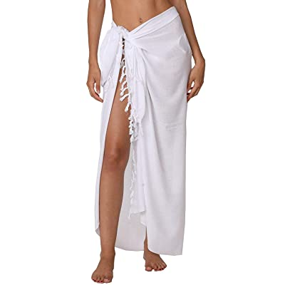 INGEAR Beach Long Batik Sarong Womens Swimsuit Wrap Cover Up Pareo with Coconut Shell Included (White) at Women's Clothing store