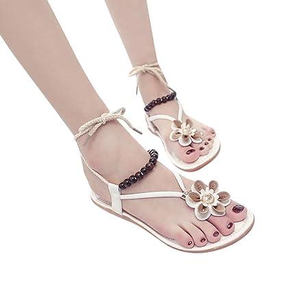Amazon strappy flats sandals slipper women flower flip flops strappy flats sandals slipper women flower flip flops low heels peep toe wedges boat shoes mightylinksfo