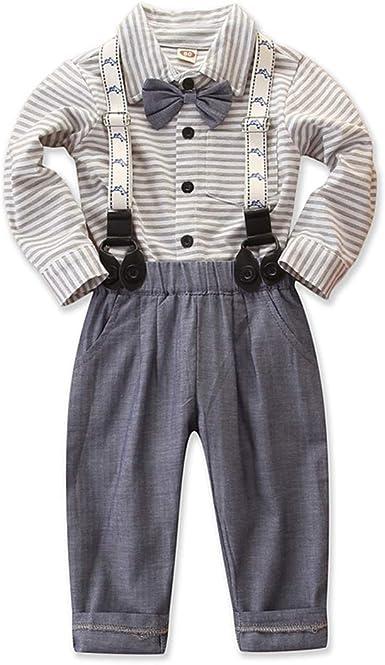 Haokaini Baby Boy Gentleman Set Corbata de Lazo Camisa Tirantes a Rayas Pantalones para niño pequeño: Amazon.es: Ropa y accesorios