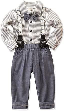 Conjunto de camisa a rayas con lazo y tirantes, para niños, para niños