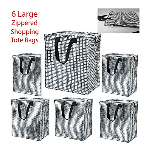 Set of 6 (Black/White) Shopping Bag Zippered Grocery Tote Gifts Reusable Tkmini9 from Unknown
