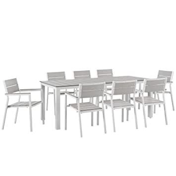 Modway Maine 9 Piece Outdoor Patio Dining Set, White/Light/Gray