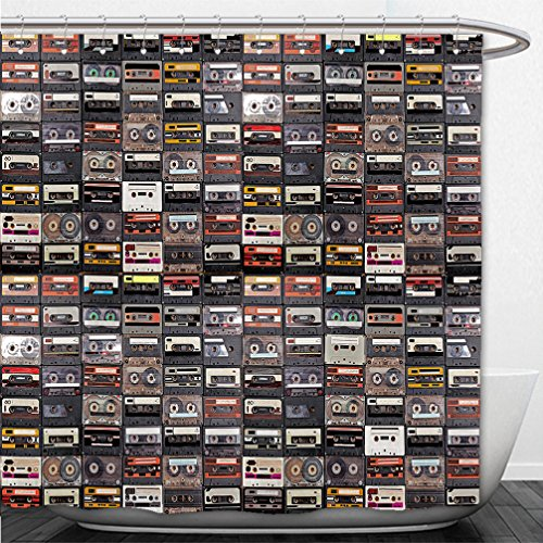 Interestlee Shower Curtain huge collection of audio cassettes retro musical background 422265142