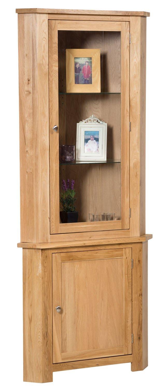 New Solid Oak Corner Display Unit Cupboard Dresser Cabinet With