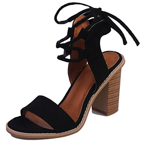 Blivener Womens Suede Sandals Open Toe Pumps Chunky Ankle Strappy High Heels  B07CFWYMQZ