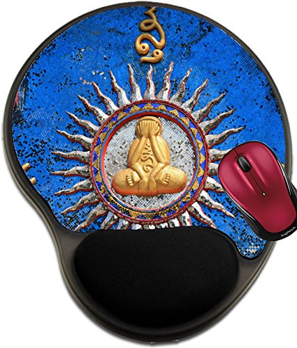 Liili Mousepad wrist protected Mouse Pads/Mat with wrist support design Ornament strange sculpture of monk that sits cross legged and closes its face by hands IMAGE ID - Asian Face Sit