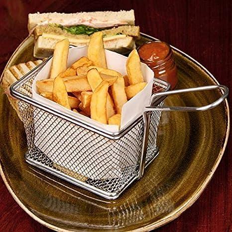 StillCool Juego de 4 Mini Cesta para freidora de acero inoxidable para patata frita,hamburguesas,sandwiches