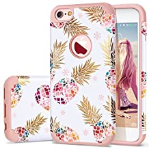 iPhone 6 Case,iPhone 6S Case Pineapple,Fingic Slim Floral Pineapple Design Case Anti-Scratch&Slip Cover Hard PC Soft Rubber Silicone Cover Case for iPhone 6/6S 4.7'',Pineapple/Rose Gold