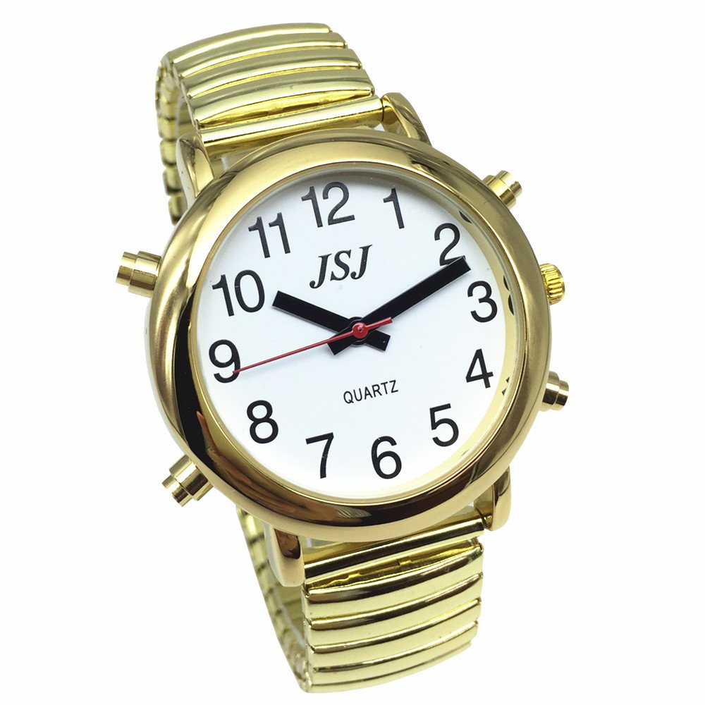 Golden Color English Talking Watch with Alarm, White Dial, Expansion Band