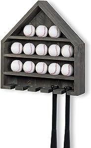 MyGift Vintage Gray Wood Home Plate-Shaped Wall Mounted Baseball and Bat Storage Display Shelf Rack