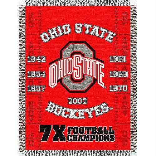 The Northwest Company Officially Licensed NCAA Ohio State Buckeyes Commemorative Woven Tapestry Throw Blanket, 48