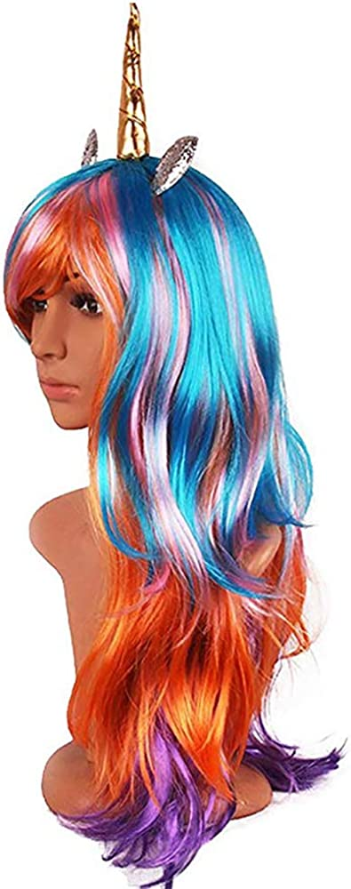 Luxury Hairpiece Horn Headband Halloween Rainbow Wig Perfect Party Decoration Cosplay Costume