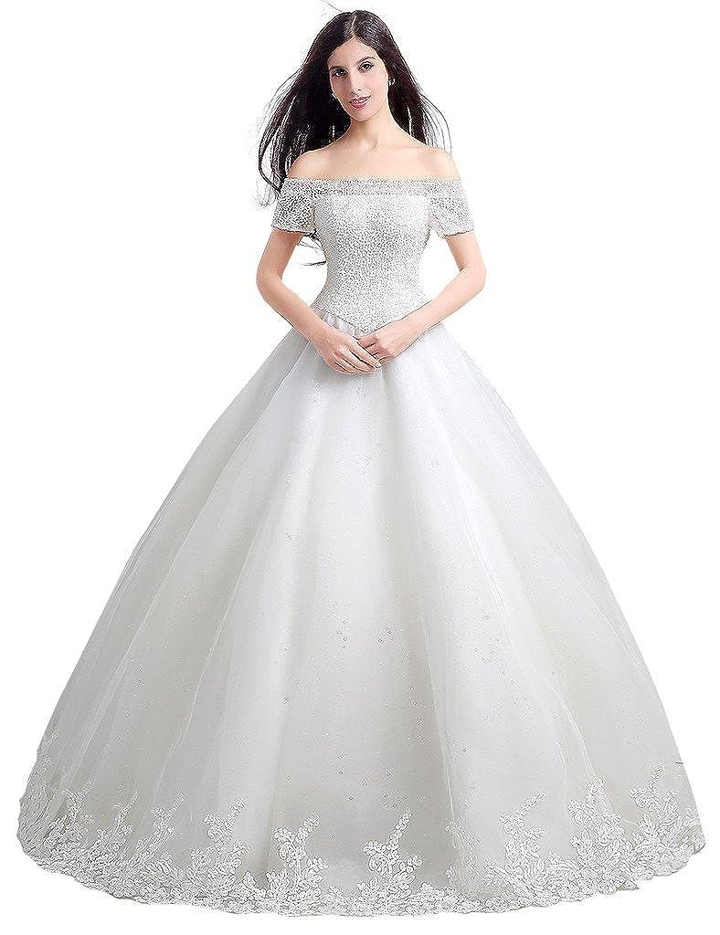JoyVany Women Floor Length Bridal Gown Crystal Wedding Dress Ball Gown JV50109