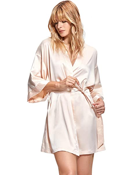 DOBREVA Women s Satin Plain Short Kimono Bridesmaid Robe Bathrobe Beige ... 21f8bca92