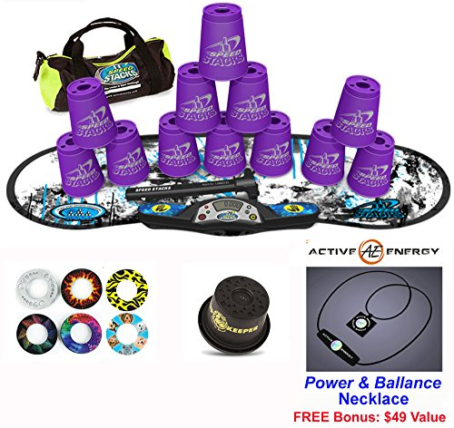 "Speed Stacks Combo Set ""The Works"": 12 PURPLE 4"" Cups, REBEL MUDD Gen 3 Mat, G4 Pro Timer, Cup Keeper, Stem, Gear Bag, 6 Snap Tops + Active Energy Necklace"