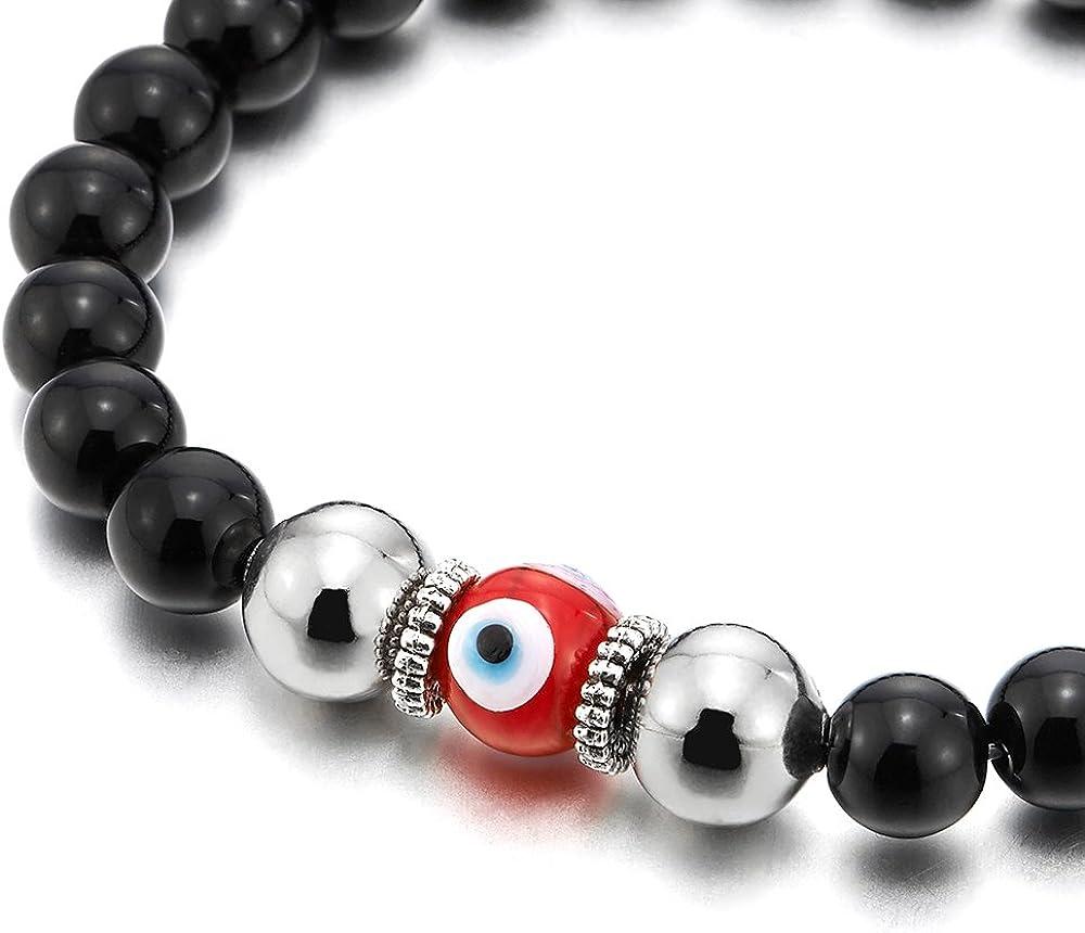 Mens Women Mat Black Bead Bracelet with Murano-Style Glass Evil Eye Bead Protection Prayer Mala