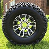 10'' VENOM Machined/Black Golf Cart Wheels and 22x11-10 DOT All Terrain Golf Cart Tires - Set of 4