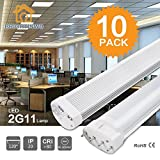 BRIGHTINWD 9W LED 2G11 85-265V 800LM Warm White 3000K LED Tube (Warm White, 9W)