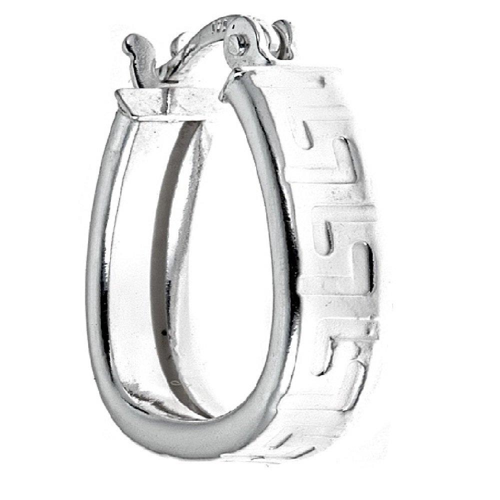 Pori Jewelers Sterling Silver 0.65 Greek Design Hoop Earrings Made In Italy