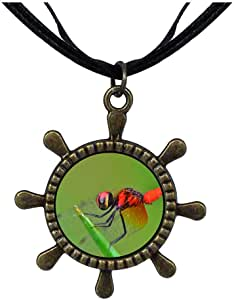 Chicforest Bronze Retro Style Beautiful Cute Dragonfly Ship Steering Wheel Pendant