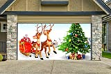Christmas Garage Door Cover Banners 3d Santa In A Sleigh Christmas Tree Holiday Outside Decorations Outdoor Decor for Garage Door G27