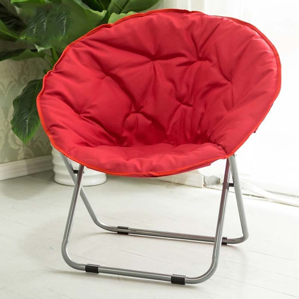 Folding chair / Round Leisure Folding Chair / Moon Chair / Home Folding Chair / Recliner /Home lazy sofa /Sun loungers /Balcony lounge chair / ( Color : Red )