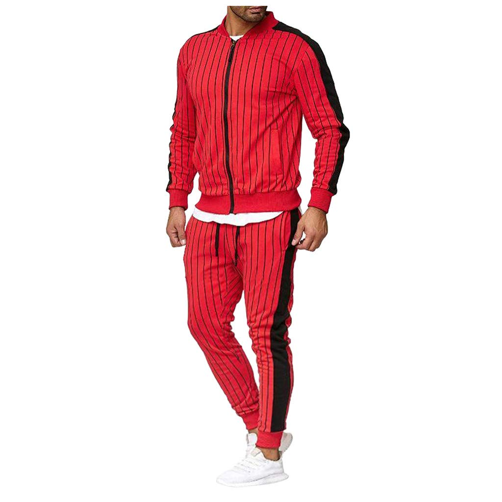 VZEXA Mens Sport Suit Autumn Winter Stripe Sweatshirt Top Pants Sets Tracksuit by VZEXA