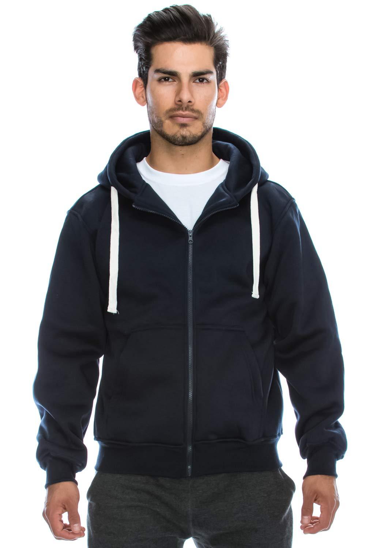 JC DISTRO Mens Hipster Hip Hop Basic Heavy Weight Zip-Up Navy Hoodie Jacket Medium