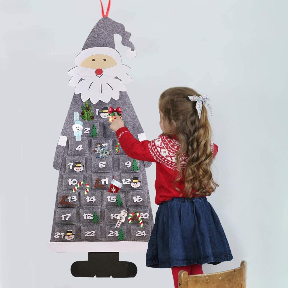 24 Fillable Advent Calendar Make Your Own Advent Calendar Fabric Christmas Advent Calendars to Fill DIY Advent Calendar Fill Yourself Advent Calendar Gray Christmas Felt Advent Calendar