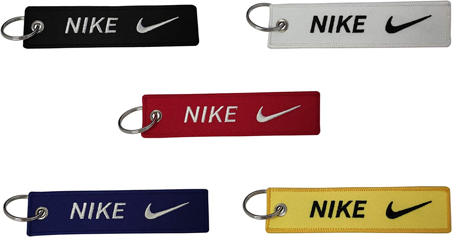 PD Store 5pcs Embroidered Tag Keychain for Nike Sport Fashion Gift Luggage Bag Running Office House Car Truck Motorcycle Keys Outdoor Indoor