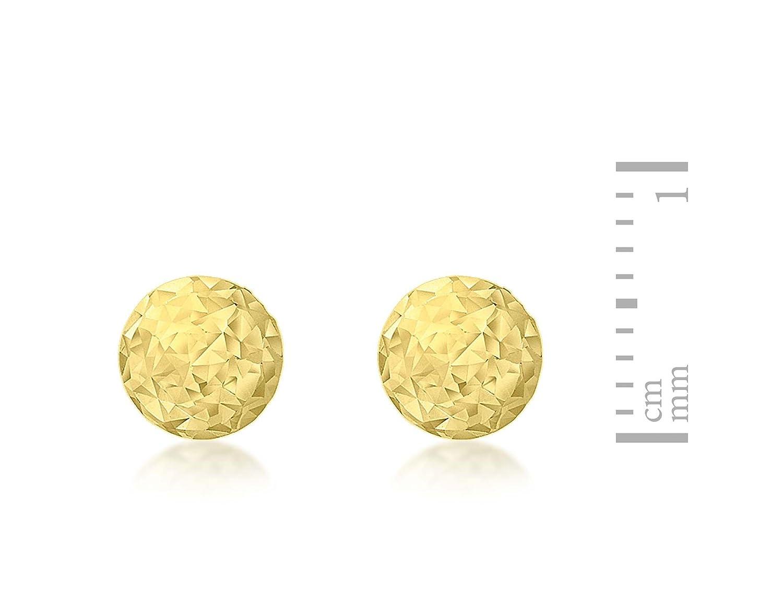6c21a6c62 Carissima Gold Women's 9 ct Yellow Gold 6 mm Diamond Cut Ball Stud Earrings:  Amazon.co.uk: Jewellery