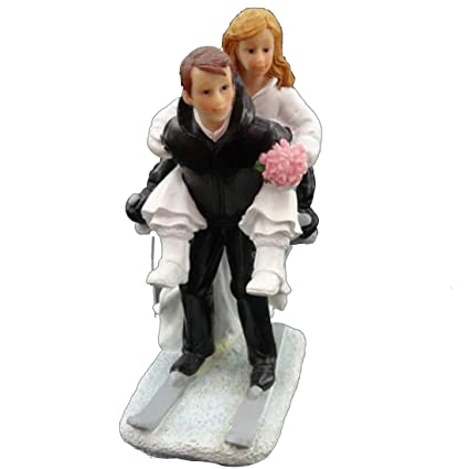 74022746db Amazon.com: Little Chair Skiing Couples Wedding Cake Topper Bride ...