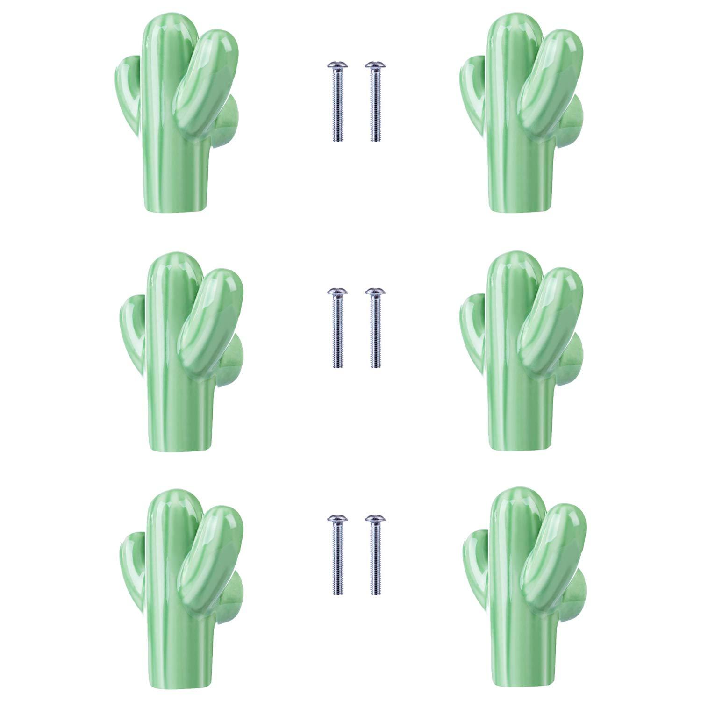 ZILucky Cactus Shape Ceramic Drawer Pulls Handles for Nursery Dresser Cupboard Wardrobe Cabinet Kitchen Desert Green Plant Theme Knobs Pack of 6 (Green)