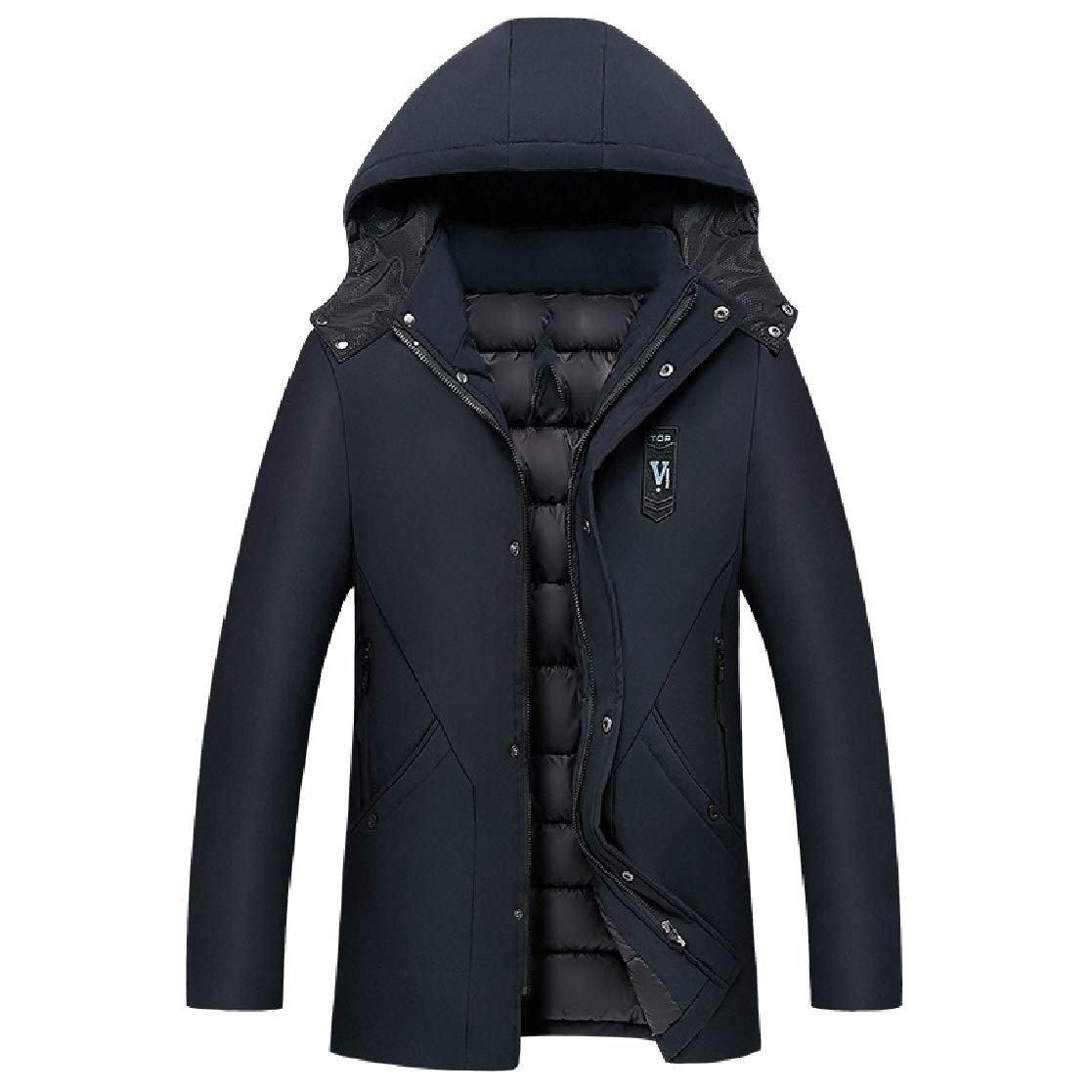 YUNY Mens Keep Warm Mid-Long Winter Relaxed-Fit Hood Outwear Thick Coat Dark Blue 2XL
