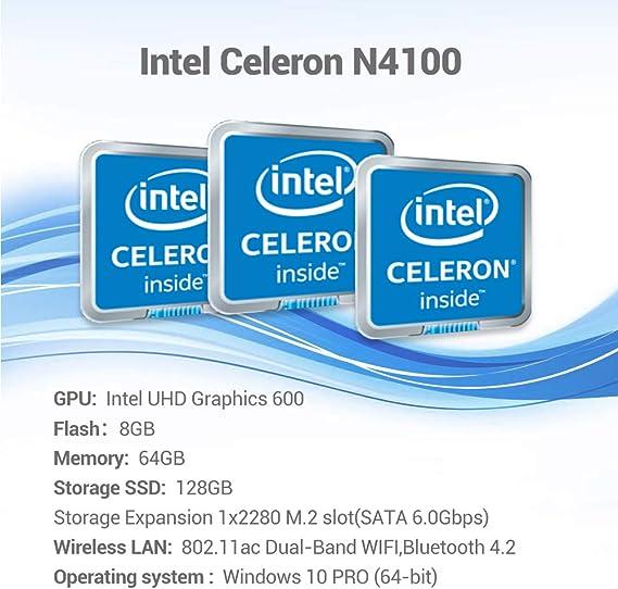 2xHDMI+VGA USB x4 BT 4.2 TX88 Mini PC 8GB LPDDR4 64GB ROM Windows 10 Mini Computer Intel Celeron N4100 Processor 4K@60Hz with Gigabit Ethernet 2.4G//5G Dual WiFi