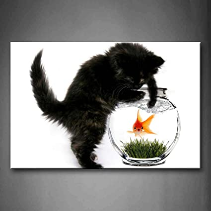 Outstanding Black Cat Stand By Fish Tank And Want To Catch Fish Wall Art Download Free Architecture Designs Rallybritishbridgeorg