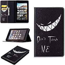 All-New Fire 7 Case, Ratesell New Fashion Slim Folio Stand PU Leather Case Cover for Amazon New Kindle Fire 7 inch Tablet 2017(7th Generation) Don't Touch Me