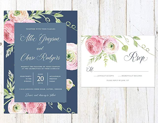 Navy And Blush Wedding.Amazon Com Navy And Blush Wedding Invitation Floral Wedding