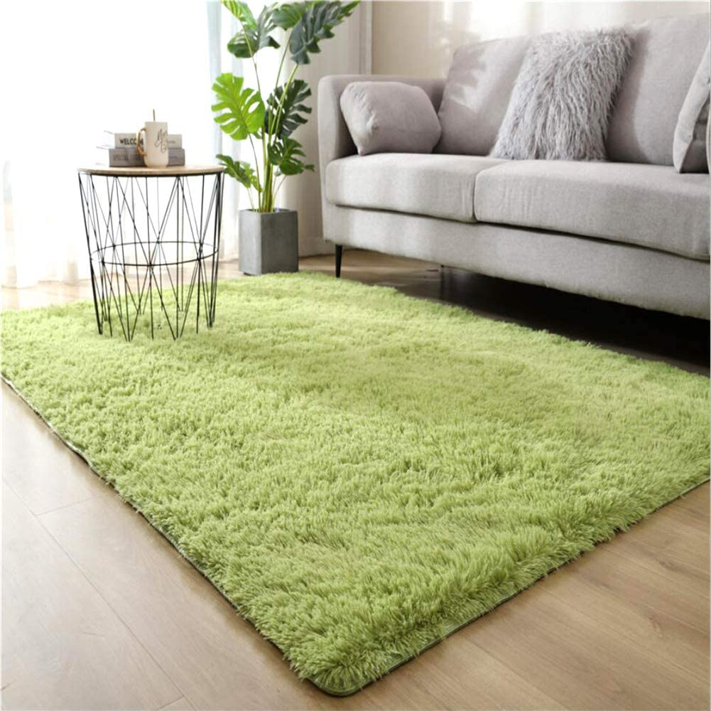 WHOW Ultra Soft Indoor Modern Area Rugs Fluffy Living Room Carpets for Children Bedroom Home Decor Nursery Rug (4'x 5.3', Green)