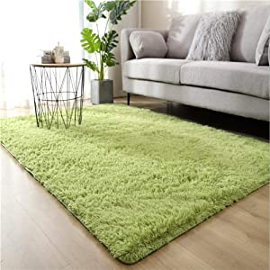 WHOW Ultra Soft Indoor Modern Area Rugs Fluffy Living Room Carpets for Children Bedroom Home Decor Nursery Rug (3'x 5', Green)