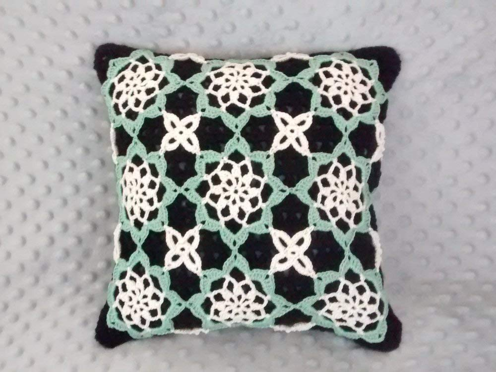 Amazon Green Crocheted Throw Pillow Cover Floral Lacy Crochet