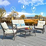 SUNTONE Outdoor Furniture 4 Piece Conversation Set- All Weather PE Rattan Wicker Patio Furniture Set, Beige Cushions, 2 Throw Pillows (2018 New, Brown)