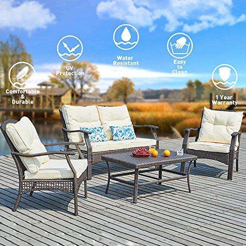 All Weather Wicker 4 Piece - SUNTONE Outdoor Furniture 4 Piece Conversation Set- All Weather PE Rattan Wicker  Patio Furniture Set, Beige Cushions, 2 Throw Pillows (2018 New, Brown)