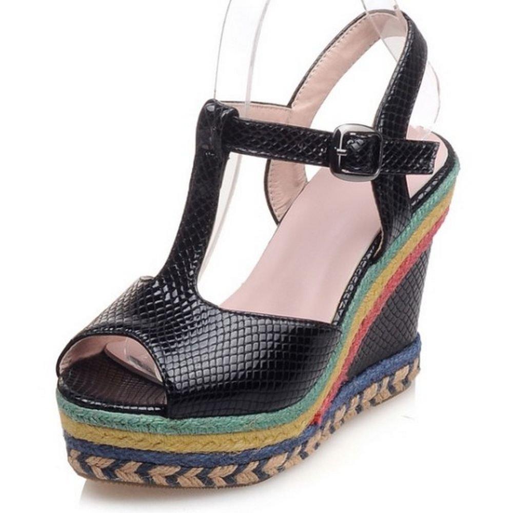 LongFengMa Women Platform High Heel Sandals Peep Toe Flatform Wedges Shoes B01HMT7YU0 US1=21cm=EUR32 Black