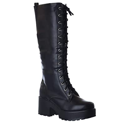 6f6781ea4 Miss Image UK New Ladies Womens Knee HIGH Chunky Platform MID Block Heel  LACE UP Zip UP Boots: Amazon.co.uk: Shoes & Bags